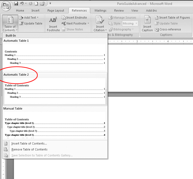 how to add table of contents in word 2007