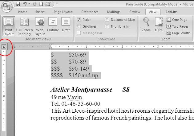 how to set tabs in word 2007