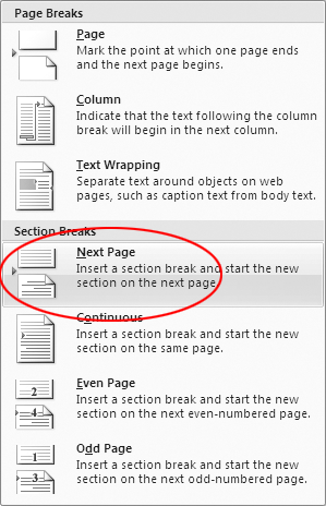 how to move to next page in word