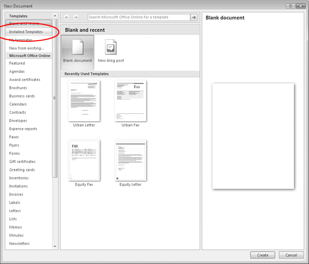 Word 2007 in pictures employ templates when the new document window appears click installed templates yelopaper Images